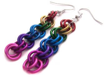 Rainbow Chain Earrings by fairy-cakes