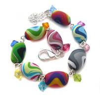 Rainbow Polymer Clay Bracelet by fairy-cakes