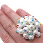 White + Rainbow Pearl Ring