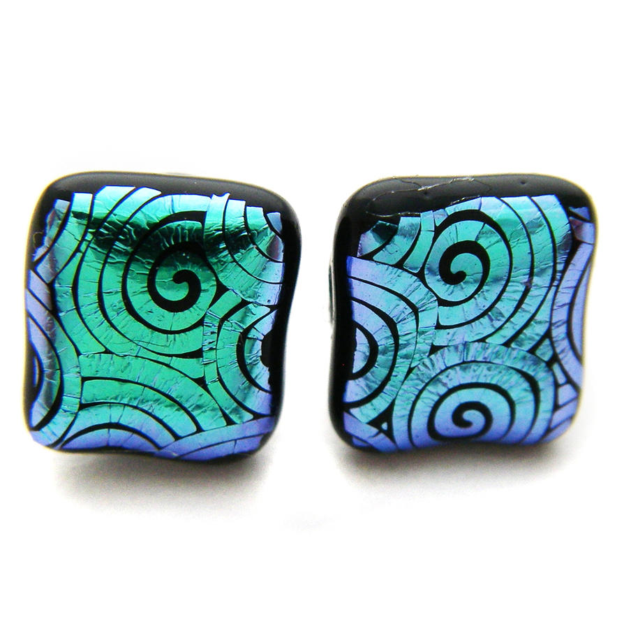 Green Patterned Dichroic Studs by fairy-cakes