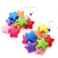 Rainbow Star Earrings by fairy-cakes