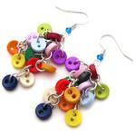 Round Rainbow Button Earrings