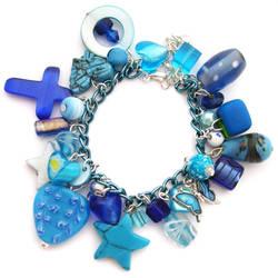 Chunky Blue Charm Bracelet