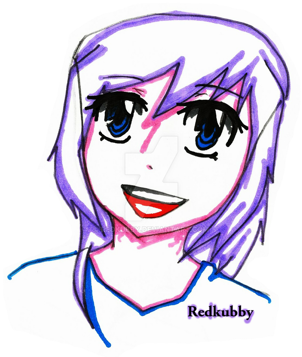 Purple haired anime girl by redkubby on DeviantArt
