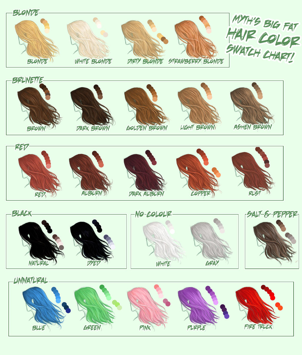 Myth's Big Fat Hair Color Swatch Chart