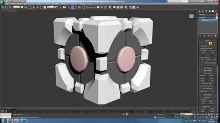 Companion Cube WIP by alliaxandromeda