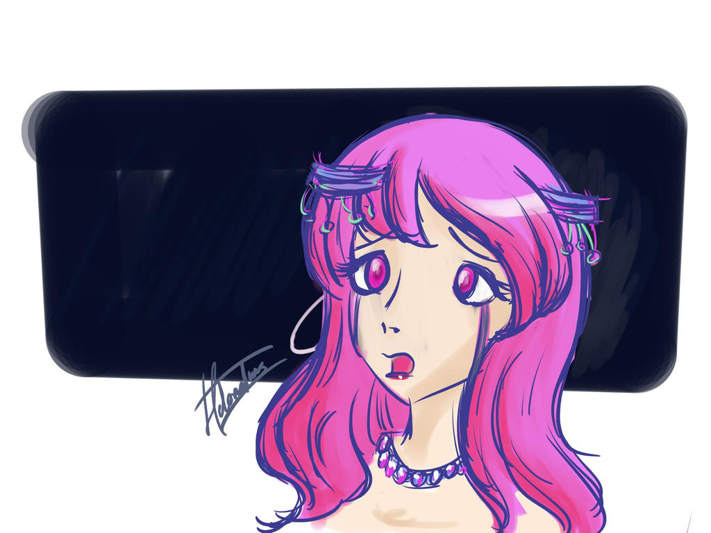 Main practice Anime-pink girl by HelenaIlus