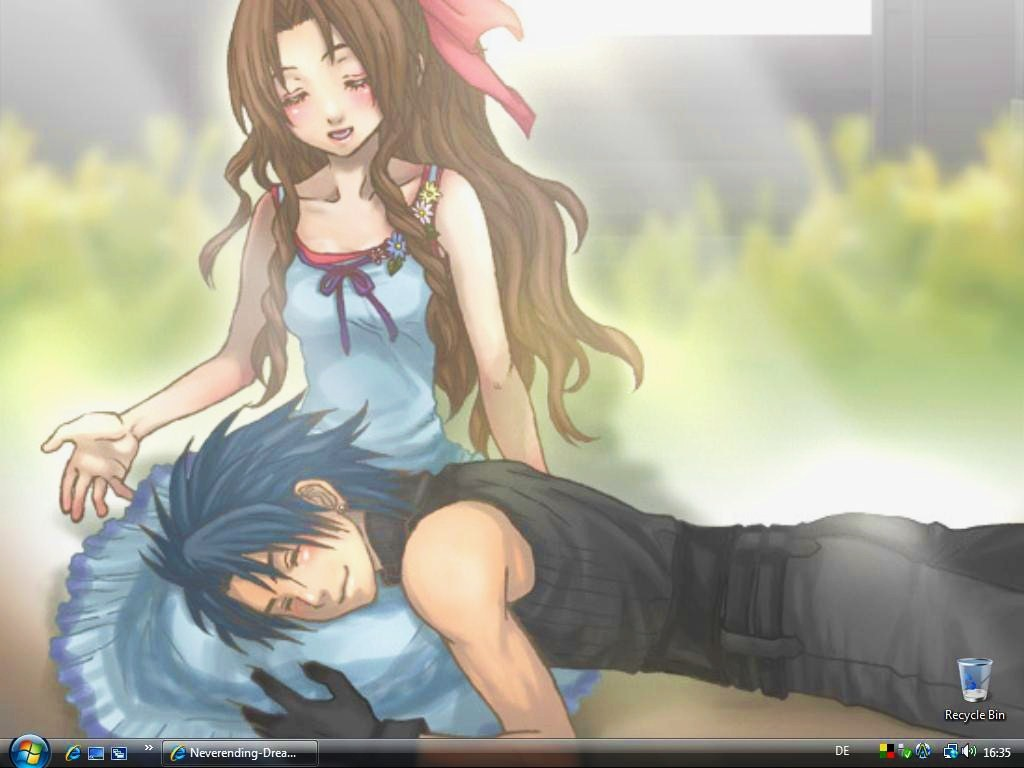 Zack Fair And Aerith Kiss Zack X Aerith by Neverending-