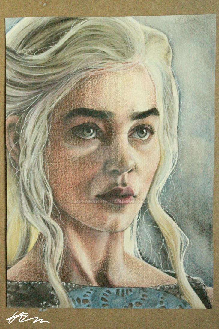 Daenerys targaryen watercolour pencil portrait by drenerd on deviantart