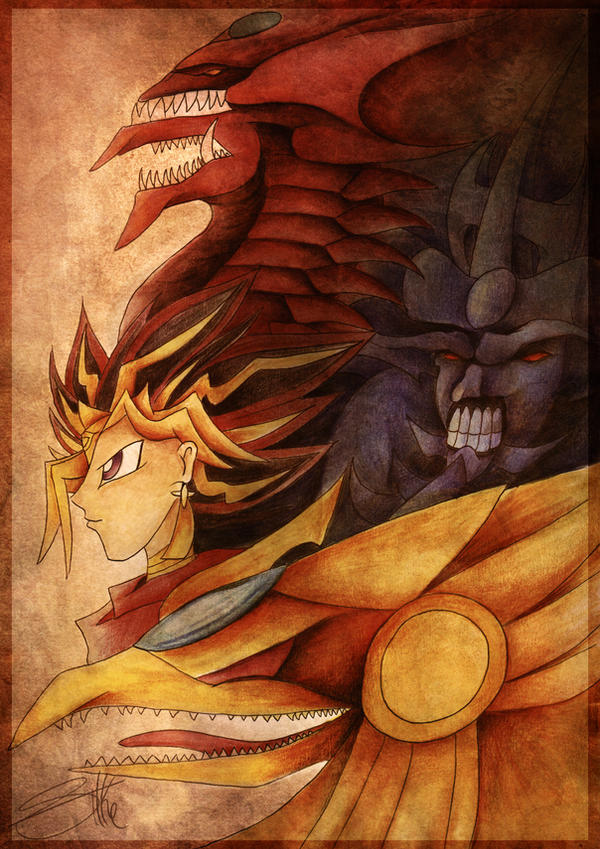 Atem (yami) with the 3 gods by Lyswen