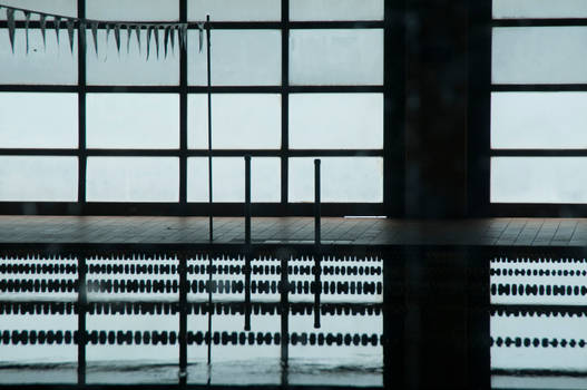 Silhouette of an indoor pool