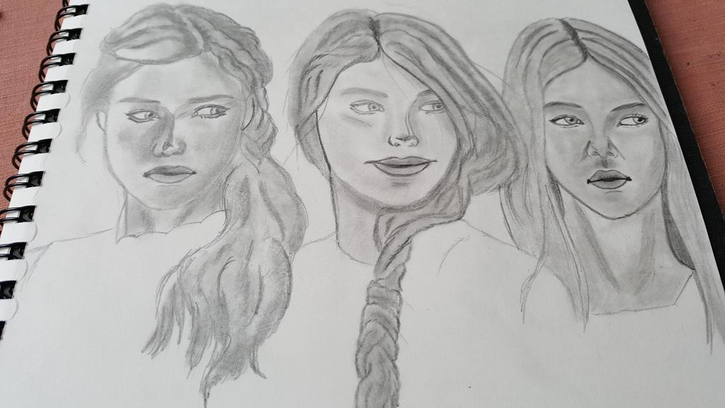 Three girls, two braids III by GreyCore
