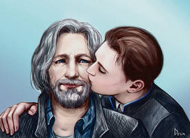 Connor kiss Hank by Develv