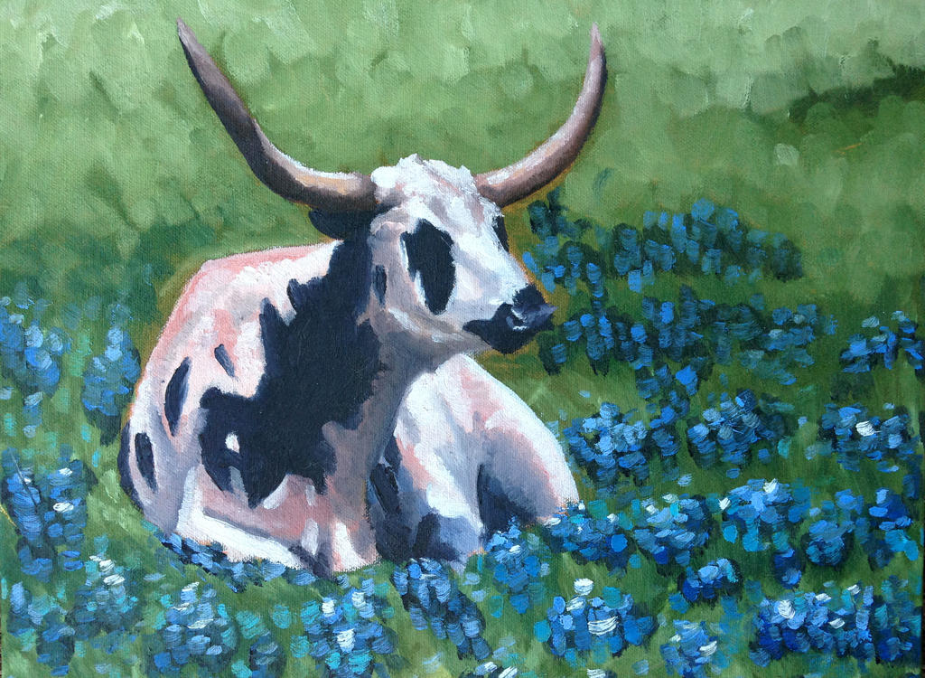 Longhorn with Bluebells by emietook