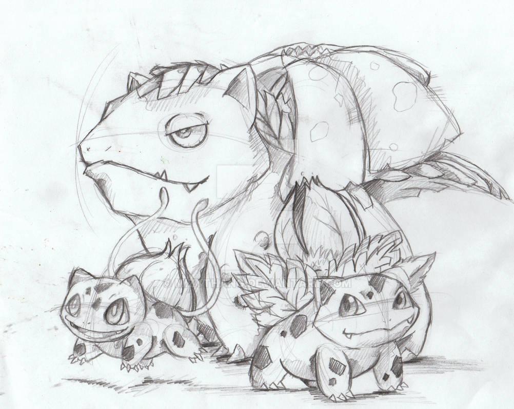 Bulbasaur Evolution Rough Sketch By Mizythang On Deviantart