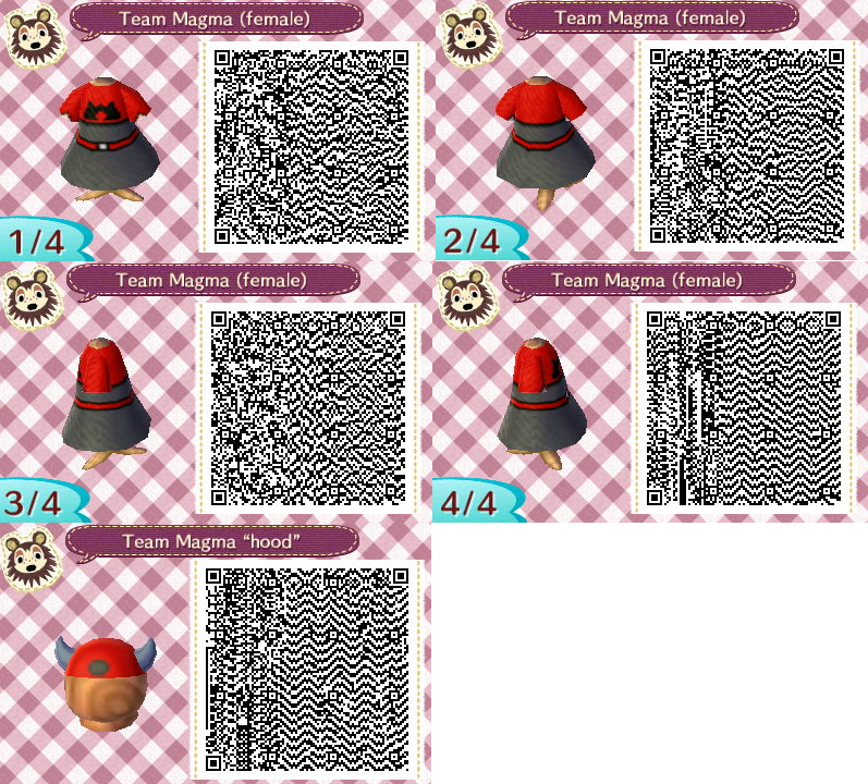 Animal crossing team magma uniform pokemon r s e by for Wood floor qr code animal crossing