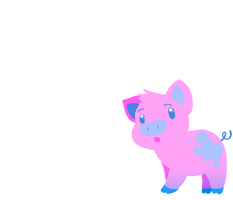Pebbles the blue and pink Pig
