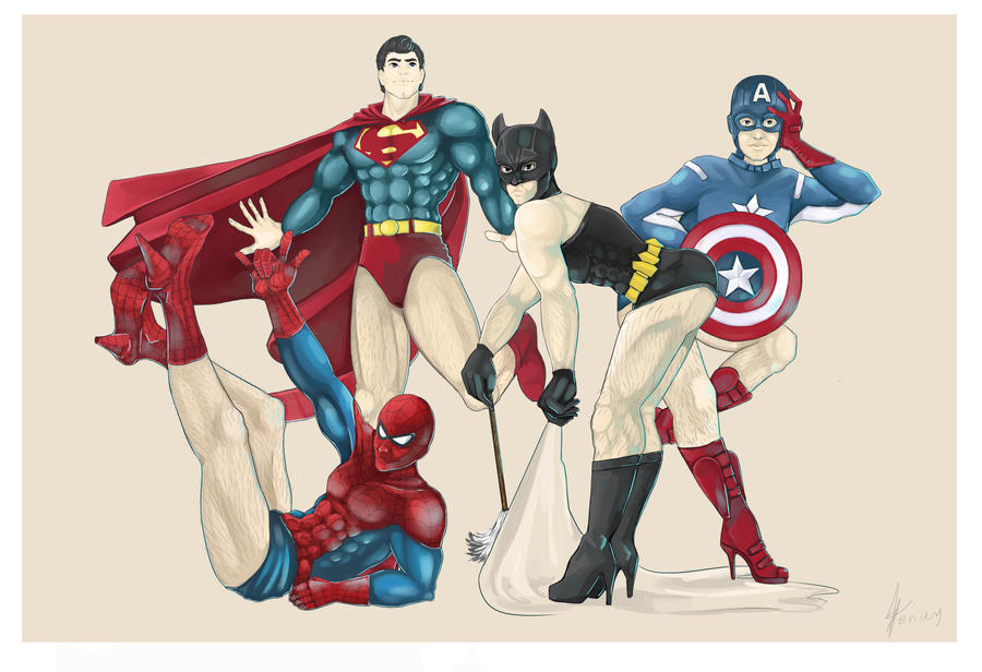 Superhero Pin Up Team! by enixyy