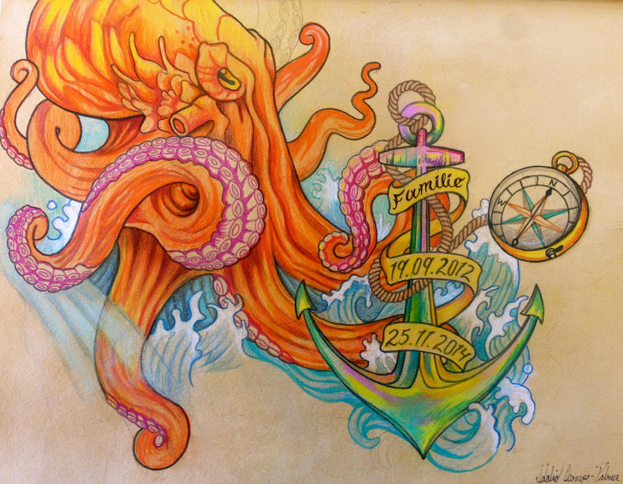 Octopus and anchor drawings