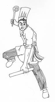 Cuisinier Ninja (croquis n et b)