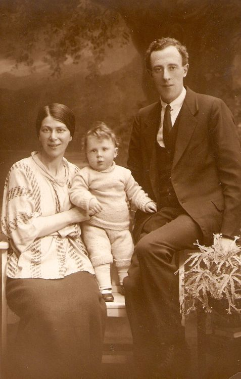 A studio portrait, taken in May 1922, of Clive and Vera Semmens with their infant son George (my father)