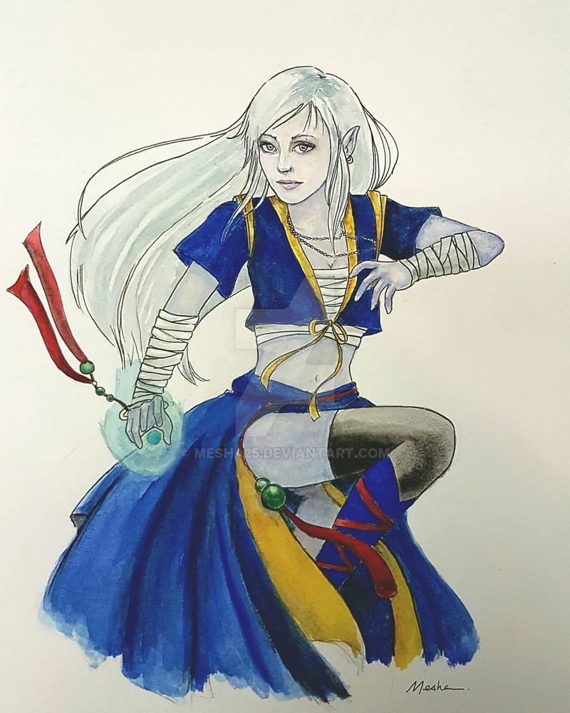 DnD: High (Moon) Elf Monk by Mesha25