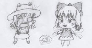 Cirno and Suwako Moriya (chibi)