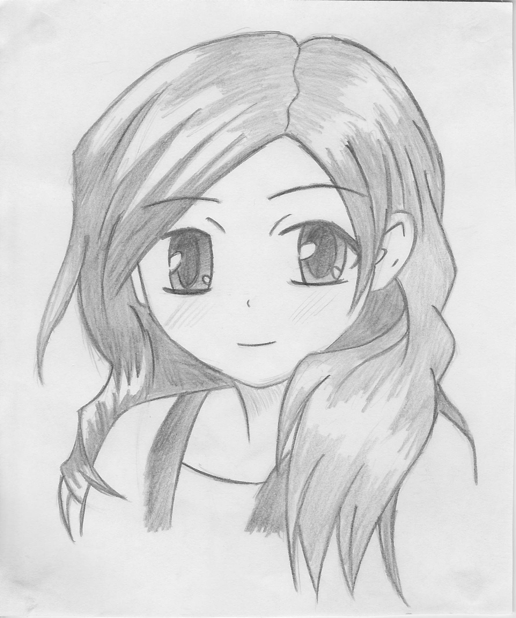 Simple anime drawings in pencil the for Girl drawings in pencil