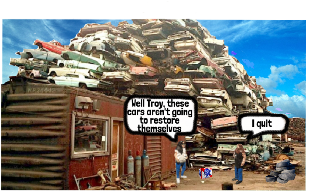 Meanwhile, over at Rockett Auto Salvage... by Redd-Rockett