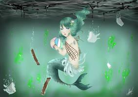 Mermaid in Pollution by Rosaline22