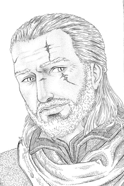 Geralt (ink) by Gilran