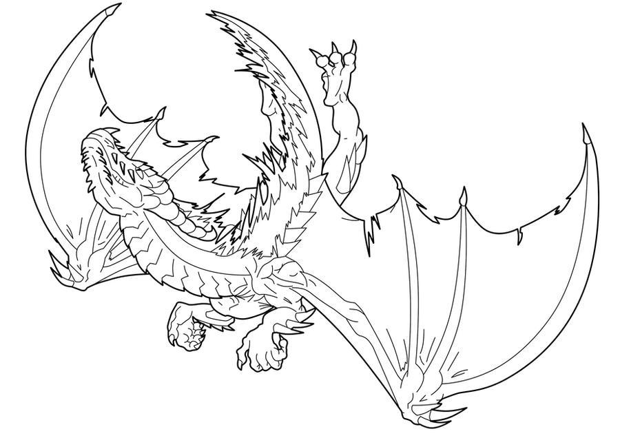Line Drawing Dragon : Fire dragon line art by ludifer on deviantart