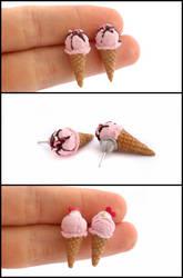 Strawberry Ice Cream Post Earrings