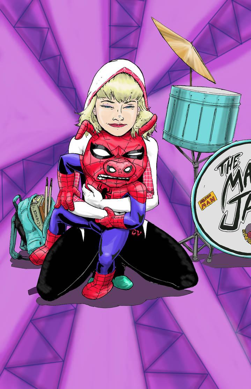 Spider-Gwen and Spider-Ham by shinlyle