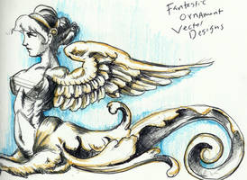 Classical Style, Lady Sphnix Sketch by TheLadyJ