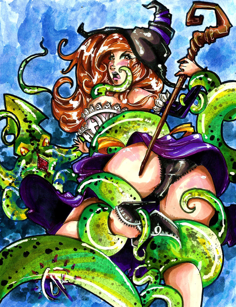 Commission: The Sorceress vs Tentacles! by TheLadyJ