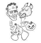 frankenstien's monster, werewolf, + clown dumbo