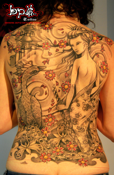 Back Piece Japanese Geisha Tattoos Picture 2