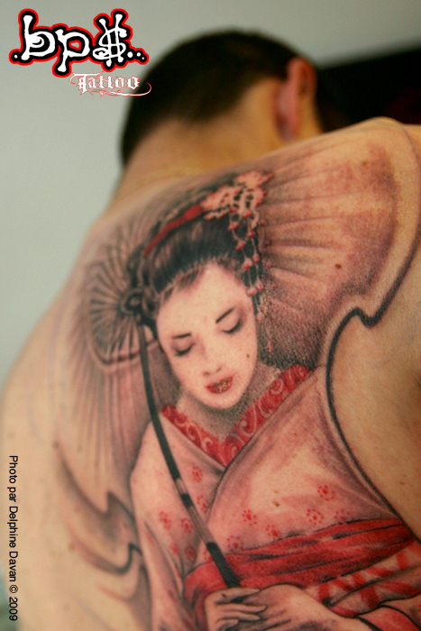 Back Piece Japanese Geisha Tattoo Picture 2