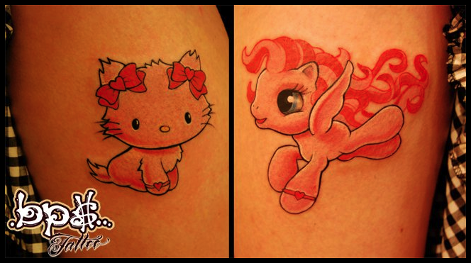 Hello kitty and little poney by BPS-TATTOO