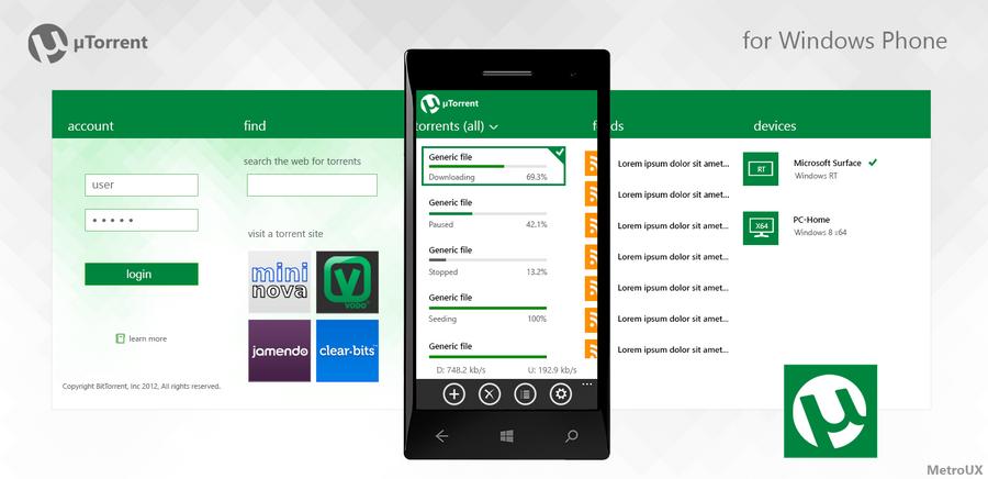 Metro app: uTorrent for Windows Phone by MetroUX