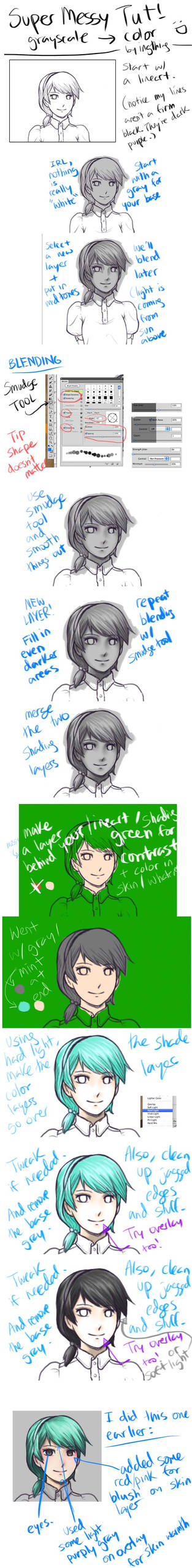 SUPER MESSY TUTORIAL Grayscale to Color