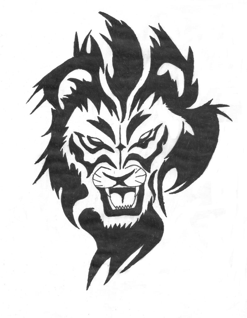 how to draw a tribal lion