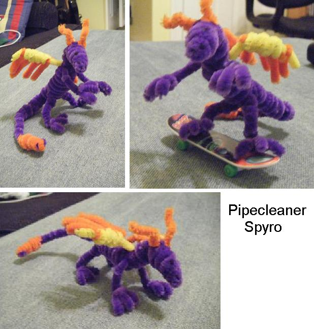 pipecleaner spyro by zookydragon