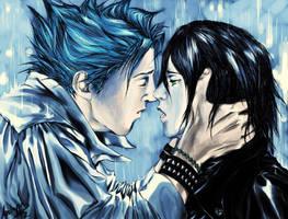 Grimmjow x Ulquiorra: Rain by Anlapis