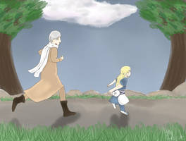 Chasing His Little Sister by snickums10