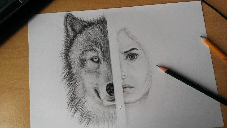 Half woman and half wolf. Tattoo design! by HedvikaKubu