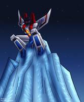 Starscream on an iceberg by WaywardInsecticon