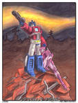 Prime and Elita by WaywardInsecticon
