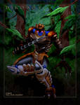 Dinobot in a forest